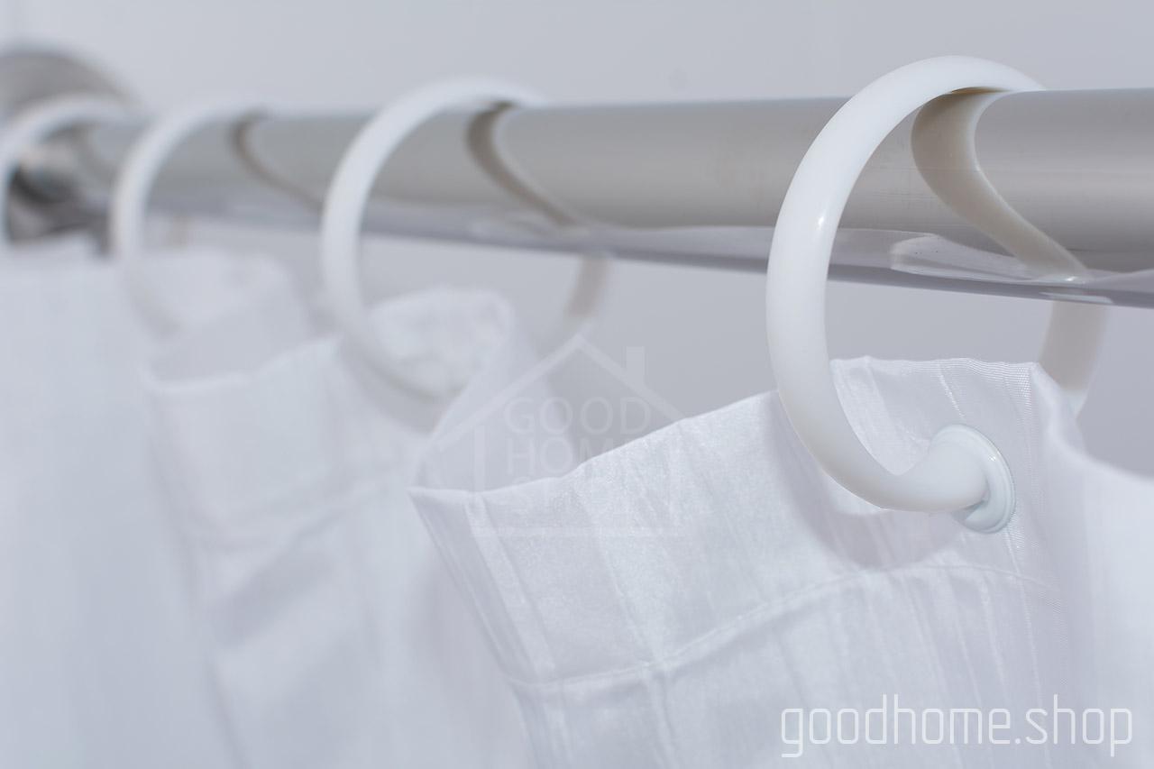 Кольца для штор в ванную с клипсами белые