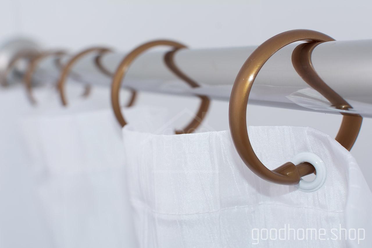 Кольца для штор в ванную с клипсами коричневые