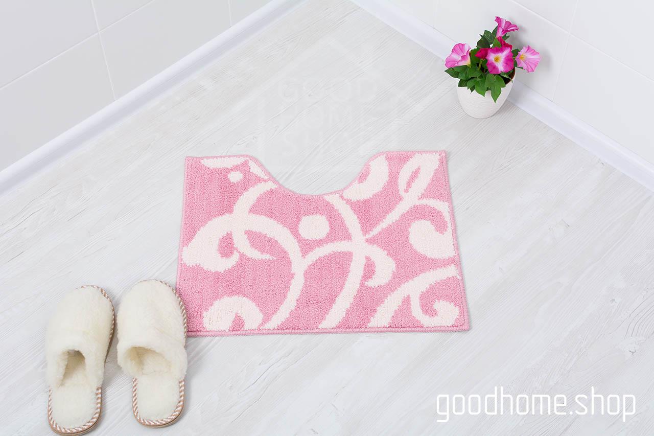 Коврик для туалета Узоры розовый