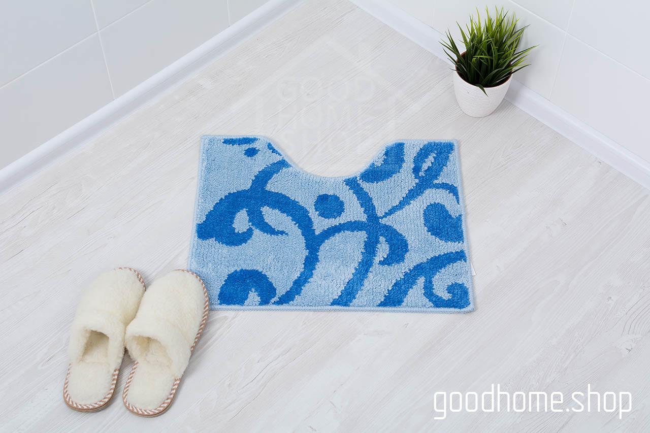 Коврик для туалета Узоры сине - голубой