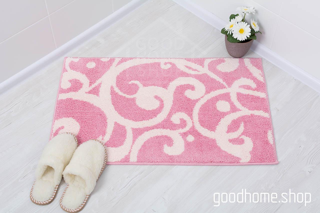 Коврик для ванной Узоры розовый