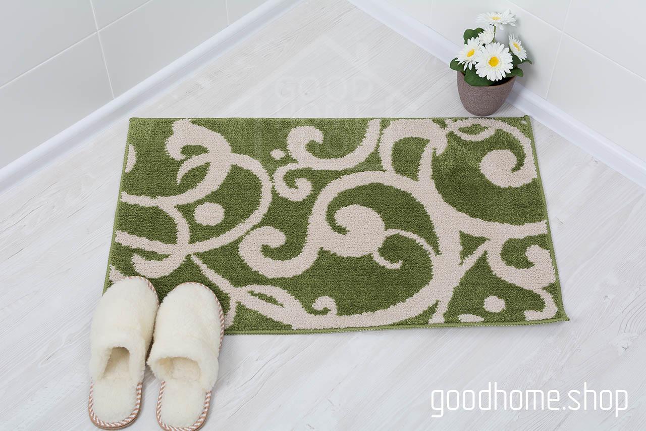 Коврик для ванной Узоры бежевый - зеленый