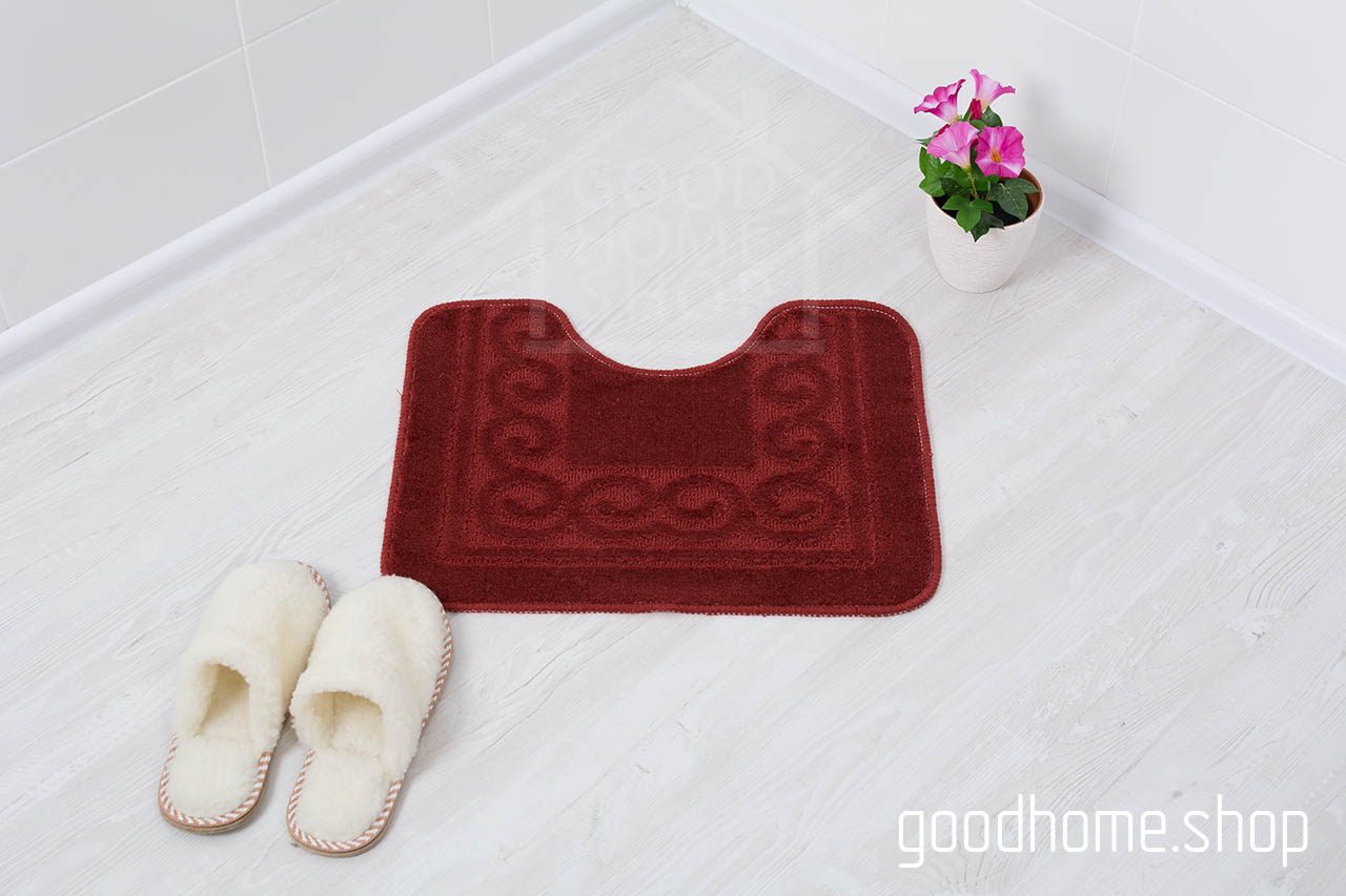 Коврик для туалета бордовый