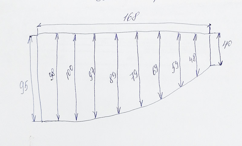 """Карниз для ванной (Штанга) """"усиленный 20"""" Асимметричный Барселона 168x95"""