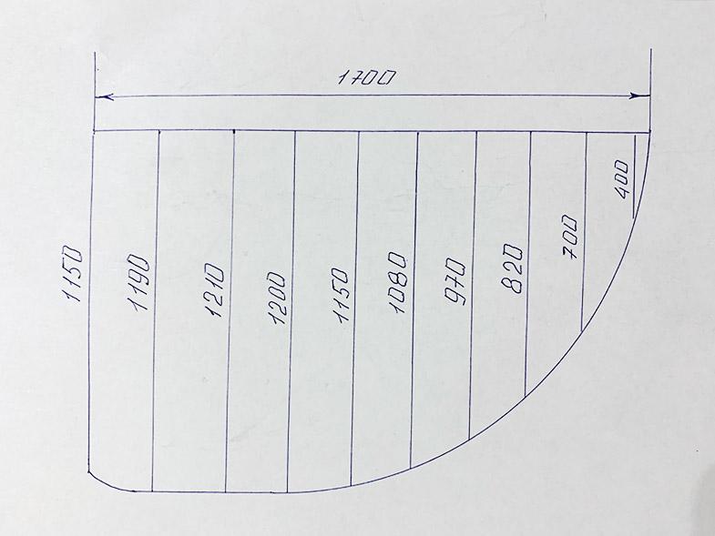 """Карниз для ванной (Штанга) """"усиленный 25"""" Асимметричный 170x115"""