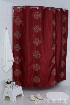 Штора для ванной Бордо эффект 180х200 красная