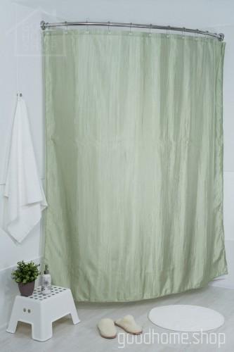 Штора для ванной двухслойная Органза зеленая