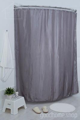 Штора для ванной двухслойная Органза серая 180х200