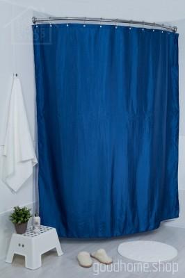 Штора для ванной двухслойная Органза тёмно синяя 180х200