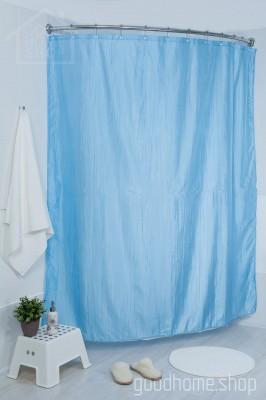 Штора для ванной двухслойная Органза голубая 180х200