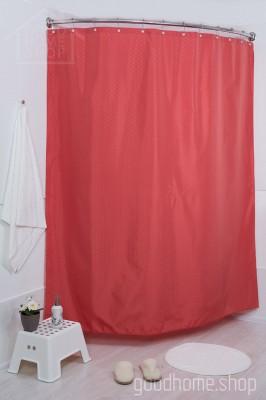 Штора для ванной брусника 180х200 красная