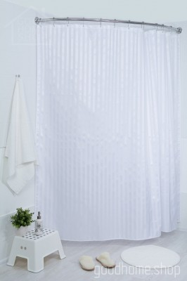 Штора для ванной большая белая 240х200