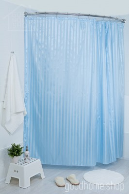 Штора для ванной большая голубая 240х200
