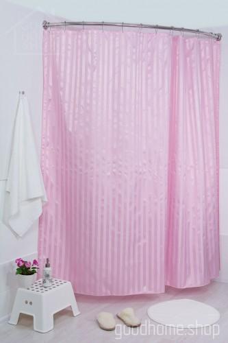 Штора для ванной большая розовая