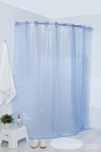 Штора для ванной 3Д голубая