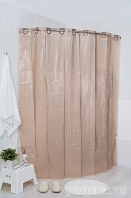 Штора для ванной 3Д коричневая 180х200