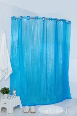 Штора для ванной 3Д синяя 180х200