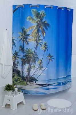 Штора для ванной Пальма голубая