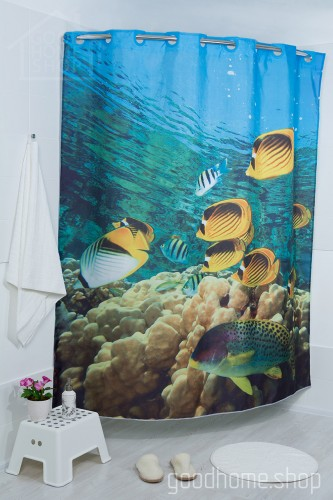 Штора для ванной Соленая вода рыбки голубая