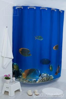 Штора для ванной Морская ванна голубая