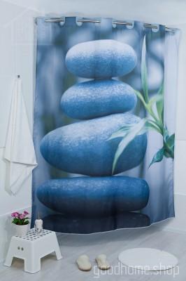 Штора для ванной Камни серая