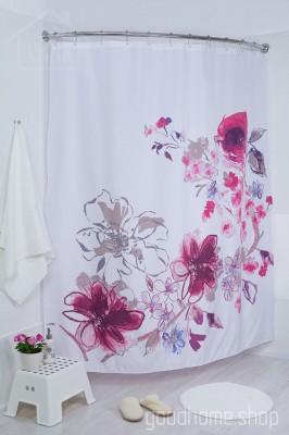 Штора для ванной Ин блум розовая 180х200 розовая