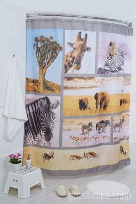 Штора для ванной Африка фото 180х200 разноцветная