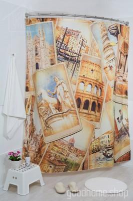 Штора для ванной Италия фото 180х200 разноцветная