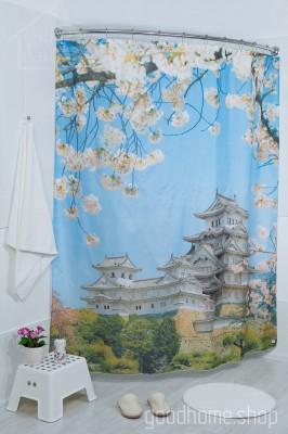 Штора для ванной Япония фото 180х200 разноцветная