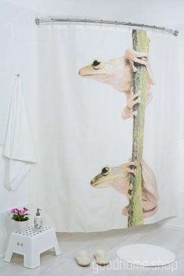 Штора для ванной Лягушки фото 180х200 разноцветная