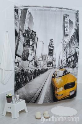 Штора для ванной Жёлтое такси фото 180х200 разноцветная